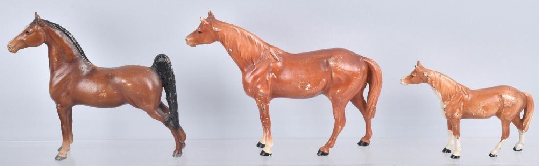 3-.HUBLEY HORSE CAST IRON DOORSTOPS