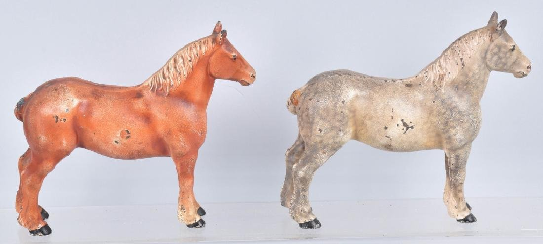 2-HUBLEY PERCHERON DRAFT HORSE DOORSTOPS - 4