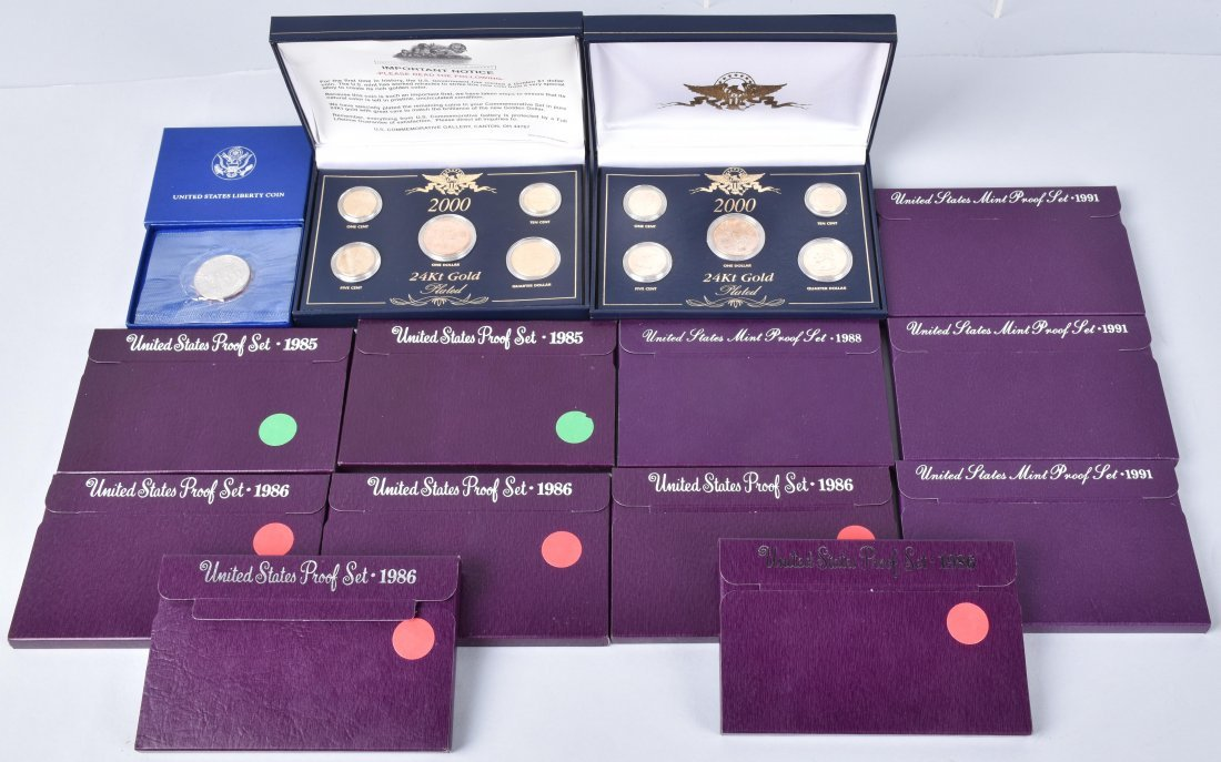 MIXED US PROOF SETS & COMMEMORATIVE COIN SETS