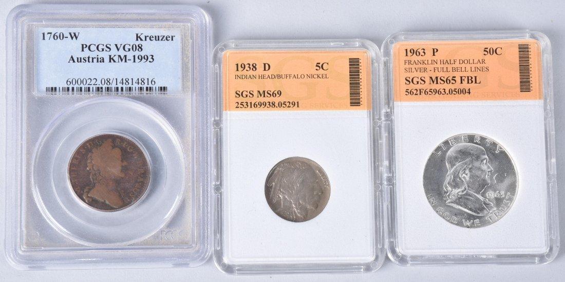 3- US & AUSTRIA GRADED SLAB COINS