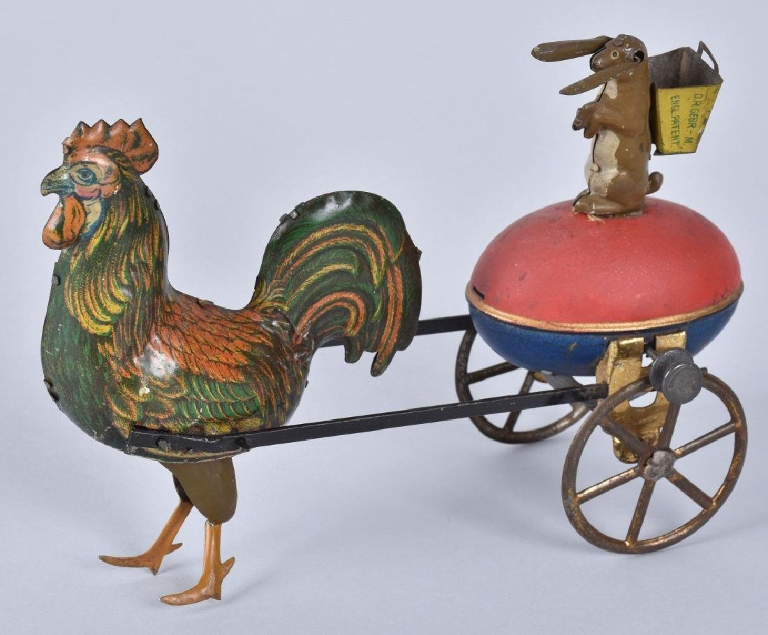 LEHMANN Tin Flywheel DUO RABBIT & CHICKEN CART