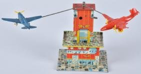 AUTOMATIC TOY CO Tin Windup AIRPLANE TOWER