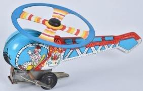 JAPAN Tin Windup CIRCUS CLOWN HELICOPTER