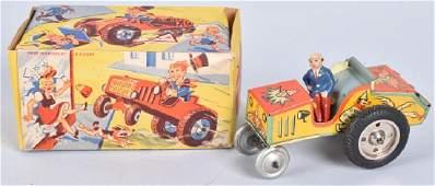 US ZONE GERMANY Tin Windup CRAZY TRACTOR w/ BOX