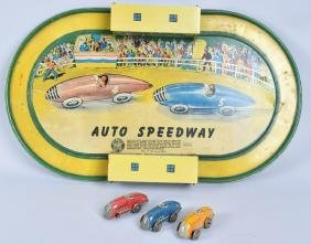 AUTOMATIC TOY Tin Windup AUTO SPEEDWAY