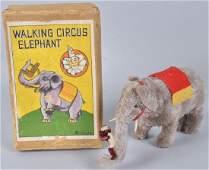 JAPAN Windup WALKING CIRCUS ELEPHANT w/ BOX