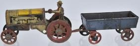 GERMAN PENNY TOY TRACTOR & WAGON