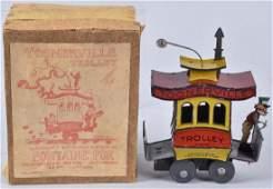 GERMAN Tin Windup TOONERVILLE TROLLEY w/ BOX