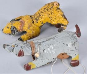 2- GERMAN HAND PAINTED DOGS