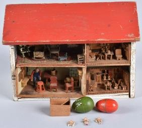 EARLY MINIATURE HIGHLY DETAILED DOLL HOUSE