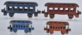 4-CAST IRON TOY PASSENGER TRAIN CARS