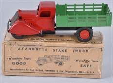1930'S WYANDOTTE STAKE TRUCK, RED / GREEN, BOXED