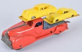 MARX WINDUP AUTO HAULER with 2 AUTOS