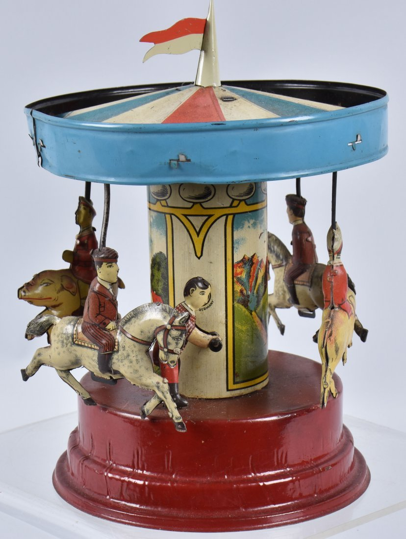 GUNTHERMANN Tin Windup PIG & HORSE CAROUSEL