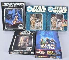 5- VINTAGE STAR WARS PUZZLES w/ BOXES