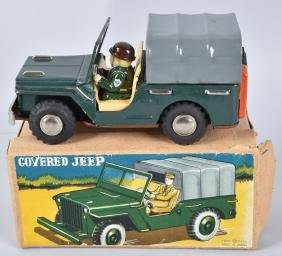 JAPAN Tin Friction COVERED JEEP w/ BOX