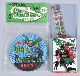 1966 GREEN HORNET BUTTON, CARDS, & MORE