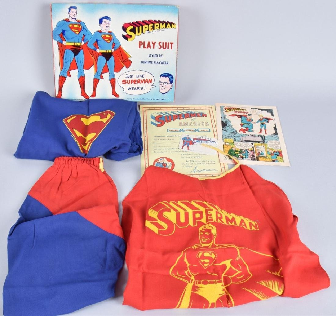 """1950s FUNTIME SUPERMAN PLAY SUIT w/ BOX """"RARE"""""""