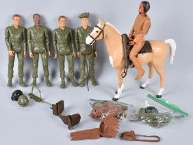 """MARX 12"""" MILITARY FIGURES & INDIAN w/ HORSE"""
