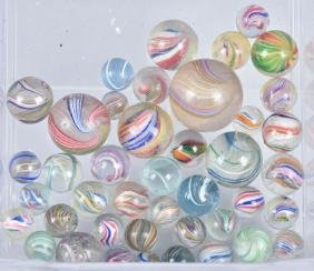 LOT OF HANDMADE SWIRL MARBLES Some w/ LUTZ