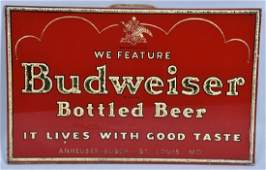 BUDWEISER BEER REVERSE GLASS ADVERTISING SIGN