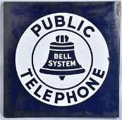 BELL PUBLIC TELEPHONE DS PORCELAIN FLANGE SIGN