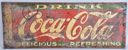 DRINK DELICIOUS AND REFRESHING COCA COLA TIN SIGN