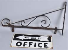PORCELAIN OFFICE SIGN w HANGER