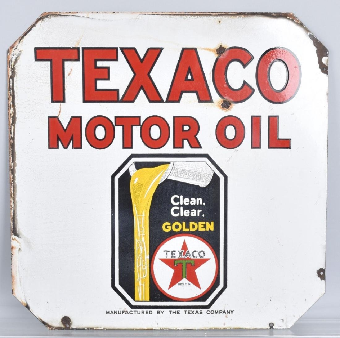 TEXACO GOLDEN MOTOR OIL DS PORCELAIN SIGN