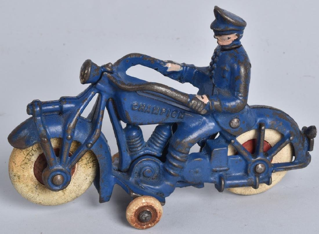 """7"""" CHAMPION Cast Iron POLICE MOTORCYCLE"""