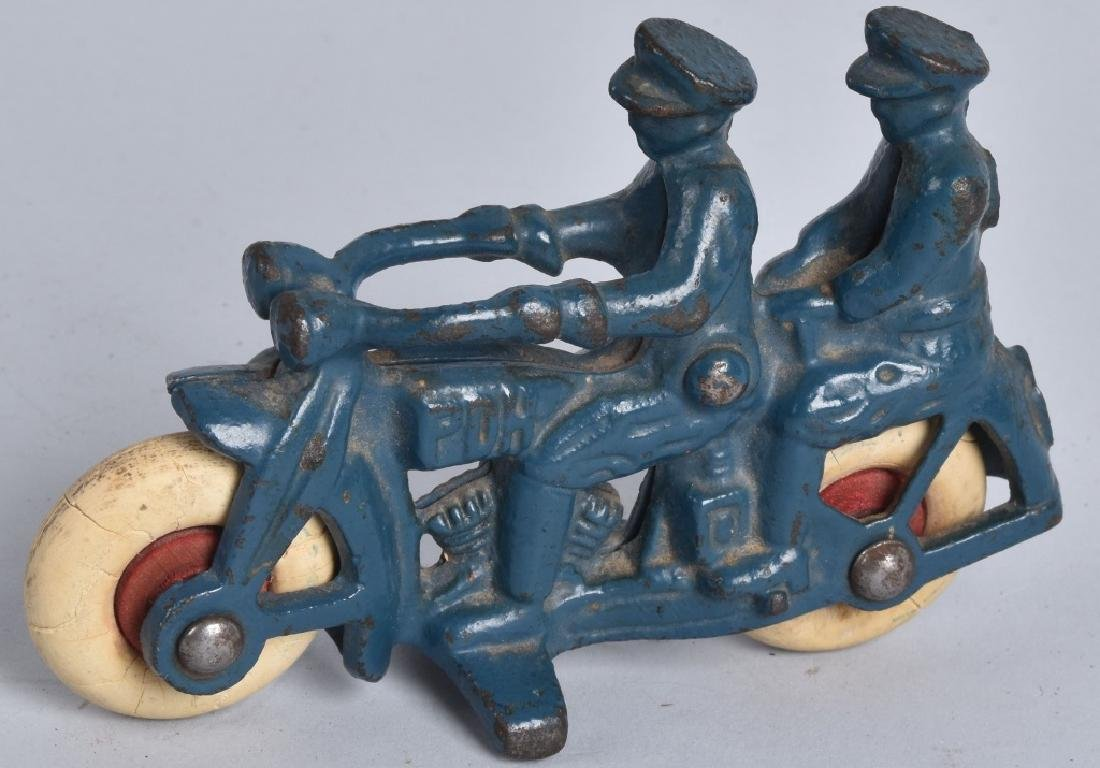 "4"" HUBLEY Cast Iron PDH MOTORCYCLE w/ 2 RIDERS"