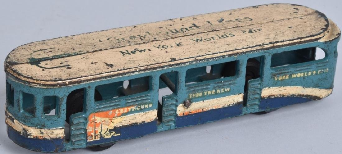"8"" ARCADE Cast Iron NEW YORK WORLDS FAIR BUS"
