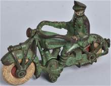 CHAMPION Cast Iron POLICE MOTORCYCLE Green