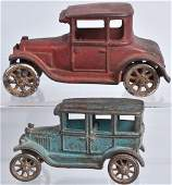 2-ARCADE CAST IRON TOY MODEL T, AUTOS