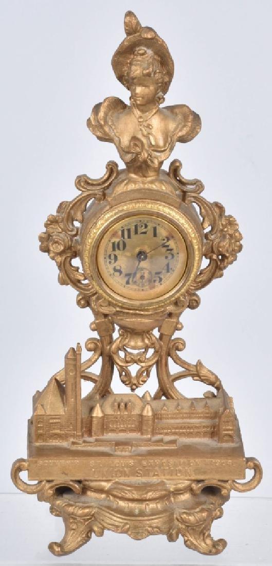 1904 ST LOUIS EXPO UNION STATION GILT METAL CLOCK