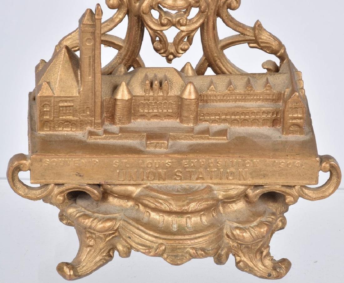 1904 ST LOUIS EXPO UNION STATION GILT METAL CLOCK - 3
