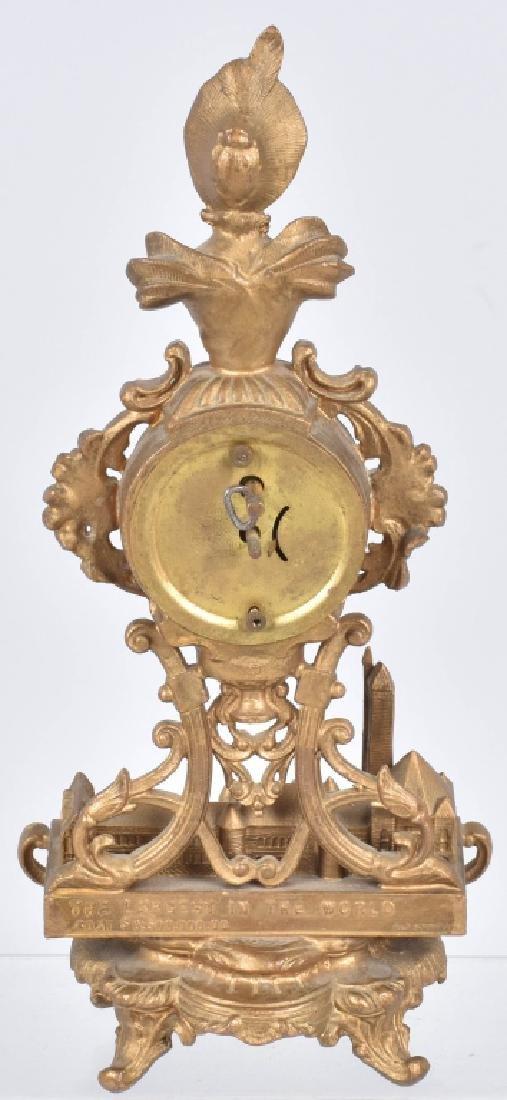 1904 ST LOUIS EXPO UNION STATION GILT METAL CLOCK - 5