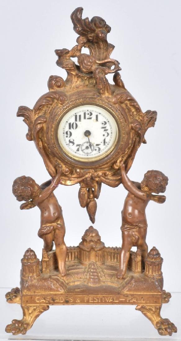 1904 ST LOUIS EXPO CASCADES & FESTIVAL HALL CLOCK
