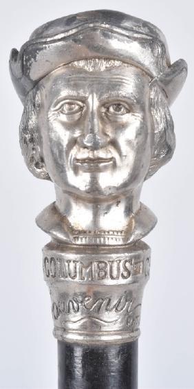 1893 Columbus Expo Silver Bust Souvenir Cane