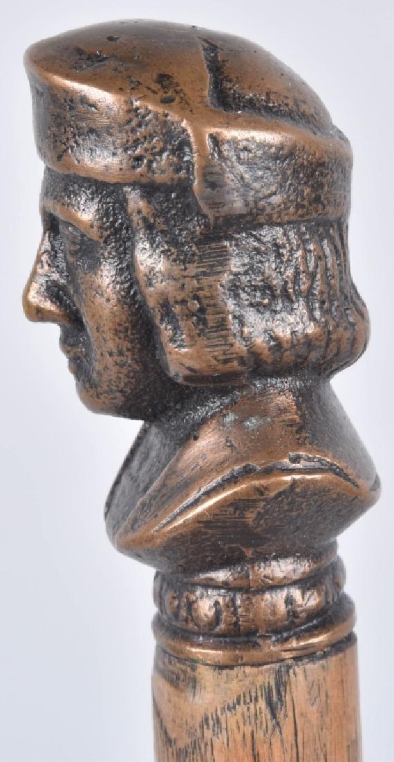 1893 COLUMBUS EXPO BRONZE BUST SOUVENIR CANE - 2