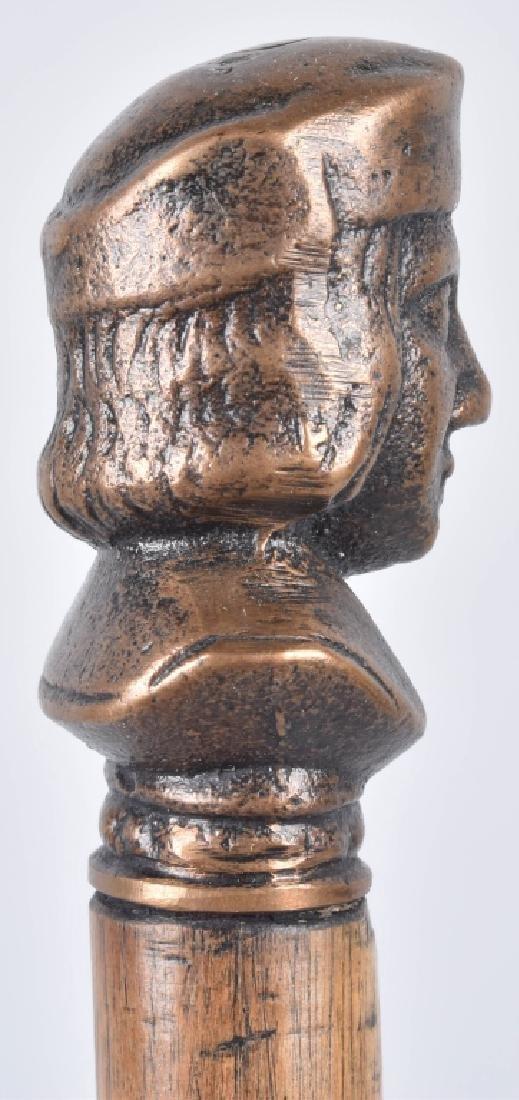 1893 COLUMBUS EXPO BRONZE BUST SOUVENIR CANE - 3