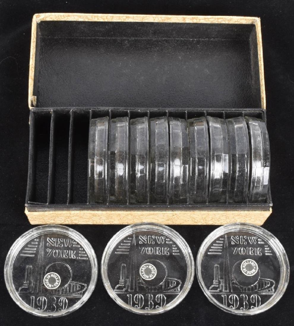 1939 NEW YORK WORLDS FAIR GLASS COASTER SET w/ BOX