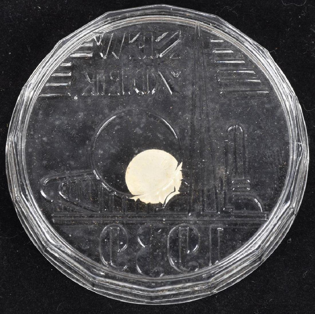 1939 NEW YORK WORLDS FAIR GLASS COASTER SET w/ BOX - 3