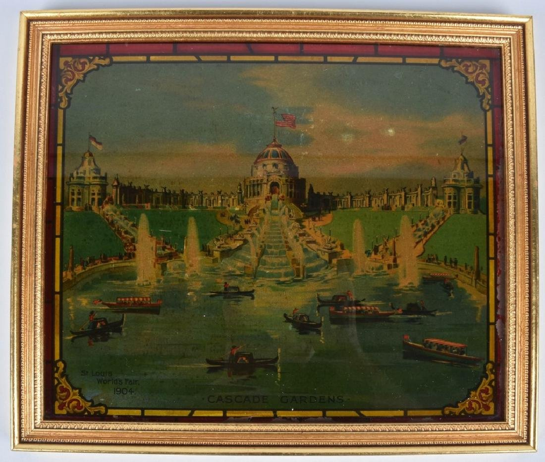 1904 ST LOUIS EXPO CASCADE GARDENS GLASS PAINTING