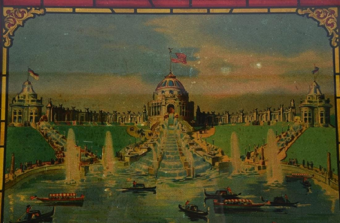 1904 ST LOUIS EXPO CASCADE GARDENS GLASS PAINTING - 2