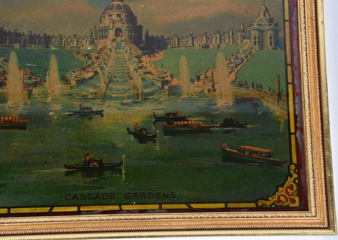 1904 ST LOUIS EXPO CASCADE GARDENS GLASS PAINTING - 3
