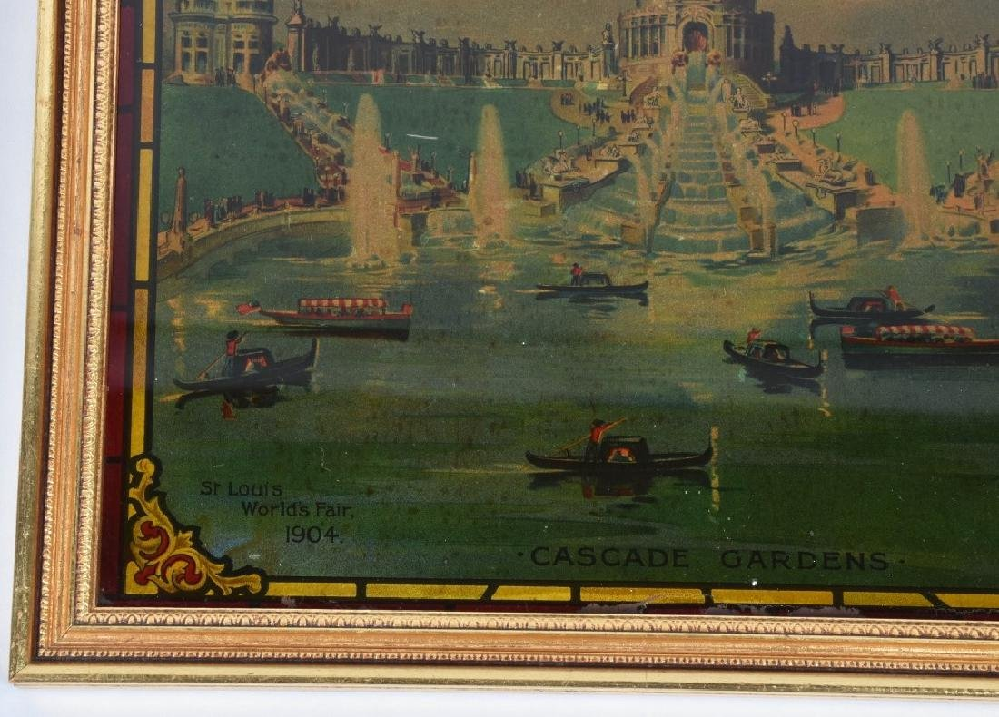 1904 ST LOUIS EXPO CASCADE GARDENS GLASS PAINTING - 4