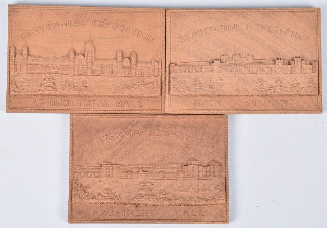 3- 1876 CENTENNIAL EXPOSITION WOOD PLAQUES