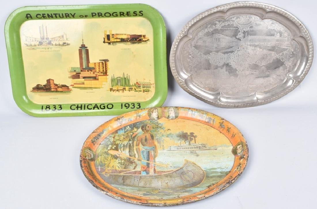 2- 1903 & 1933 WORLDS FAIR SERVING TRAYS