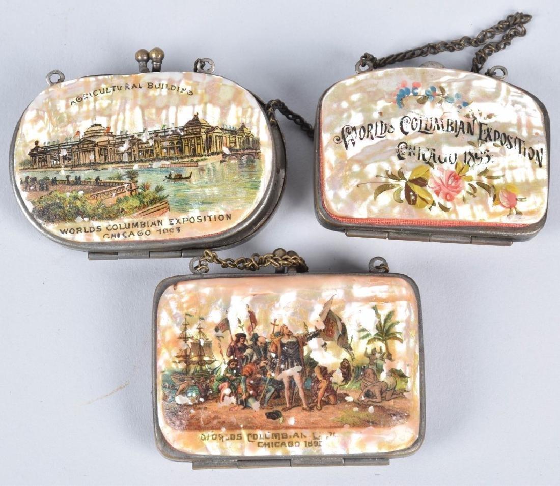 6- 1893 COLUMBIAN EXPO SOUVENIR SHELL COIN PURSES - 2